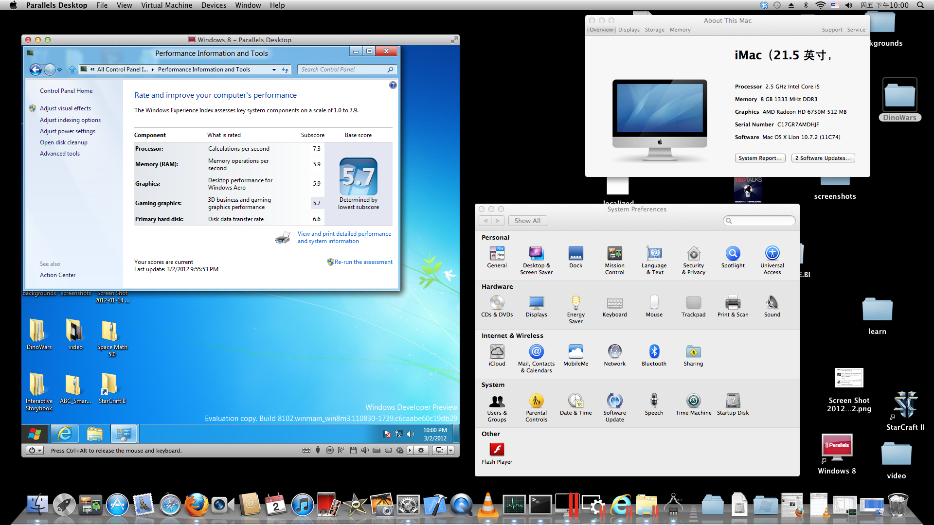 Windows 8 running on Lion with Parallels