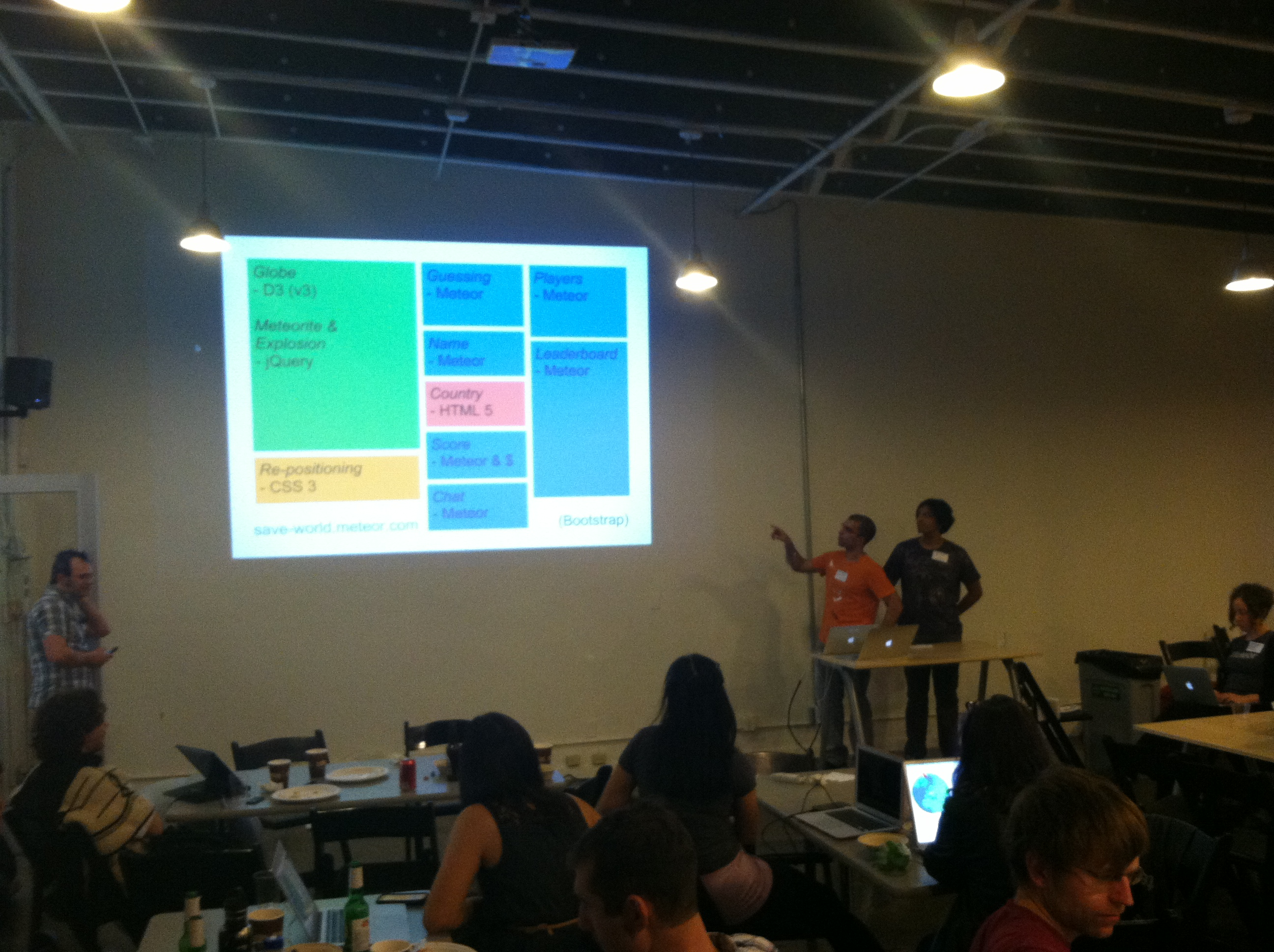 Paul and Adnan presenting at Meteor.js HQ
